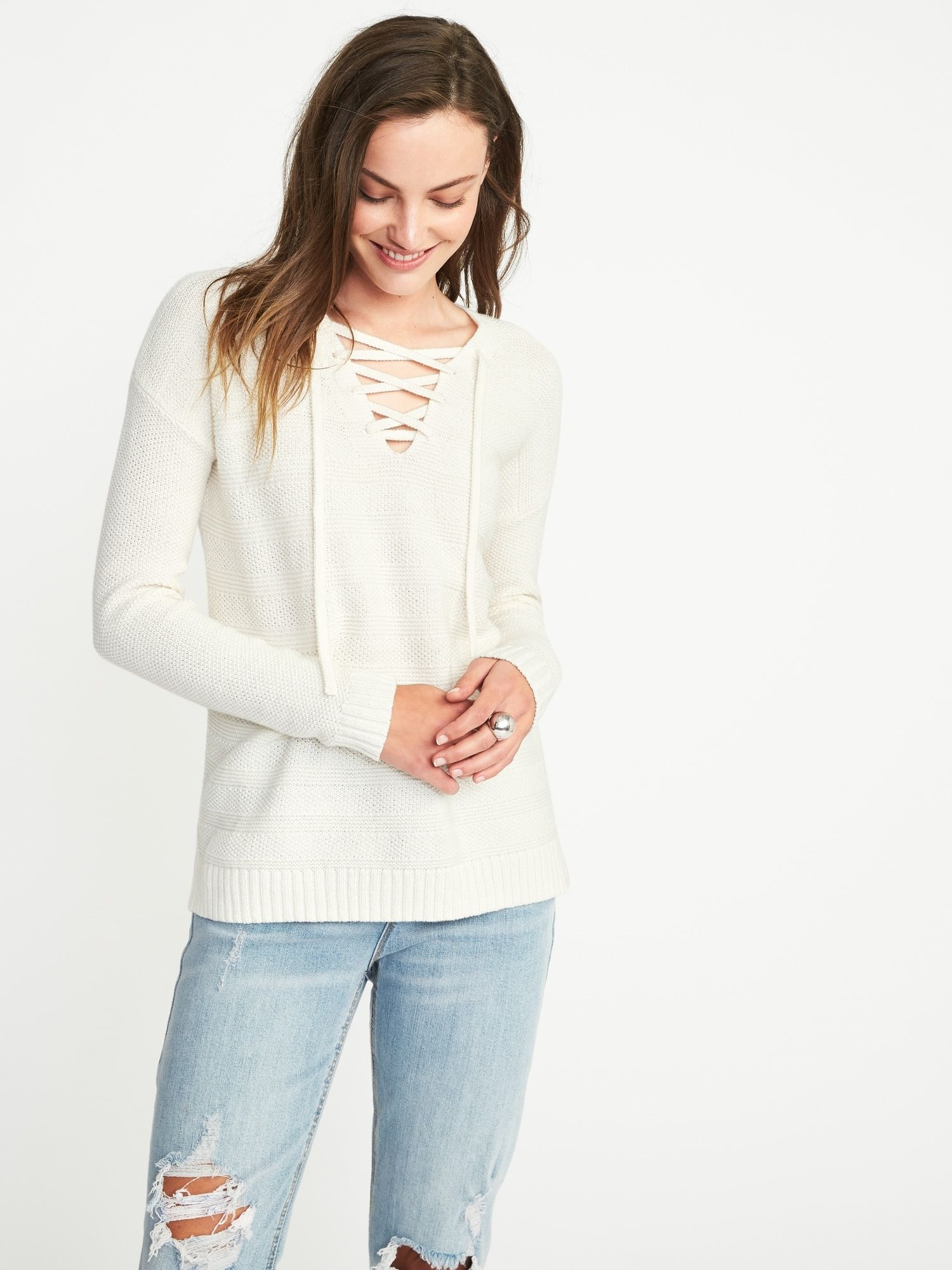 Lace-Up Textured Sweater for Women | Old Navy | Keepin' it Casual ...