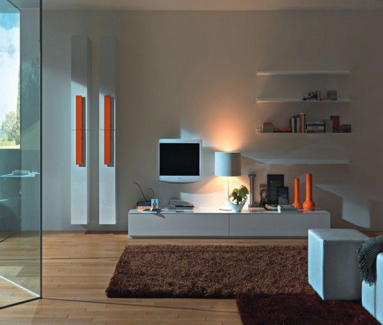 White Theme Living Room Wall Unit Design