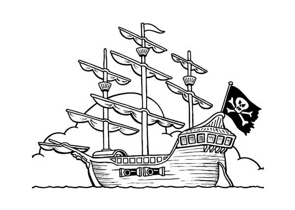 pirate ship coloring pirate ship on anchor coloring page kids play ...