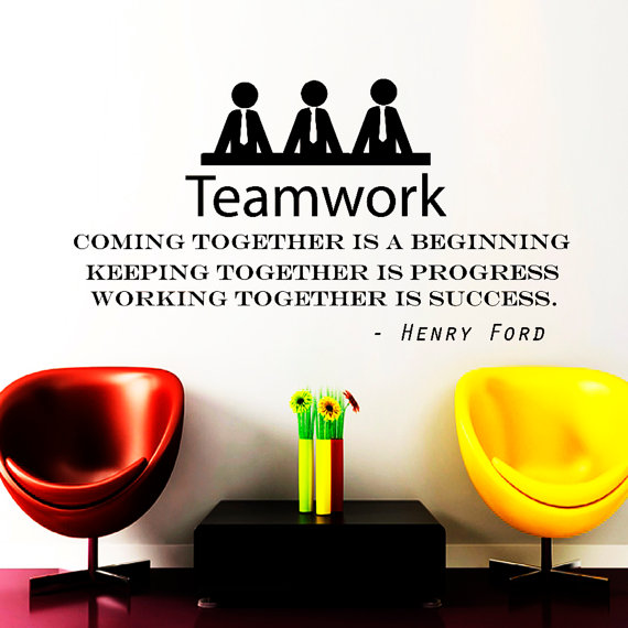 Wall Decals Teamwork Quote Decal Vinyl Sticker Henry Ford - Window decals for medical offices