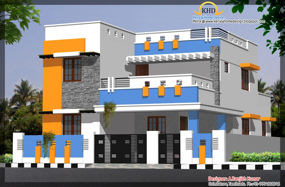 Elevations of residential buildings in indian photo for Front elevations of duplex houses