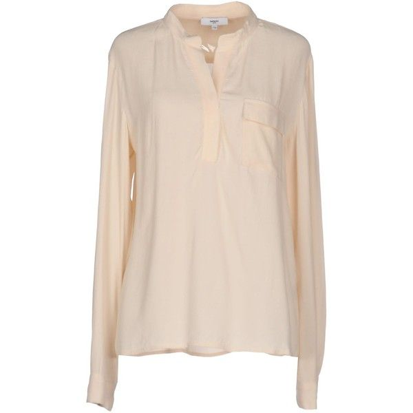 Suncoo Blouse ( 79) ❤ liked on Polyvore featuring tops, blouses, beige, v  neck long sleeve top, beige long sleeve blouse, pink top, beige top and  pink long ... 92f14461c6df