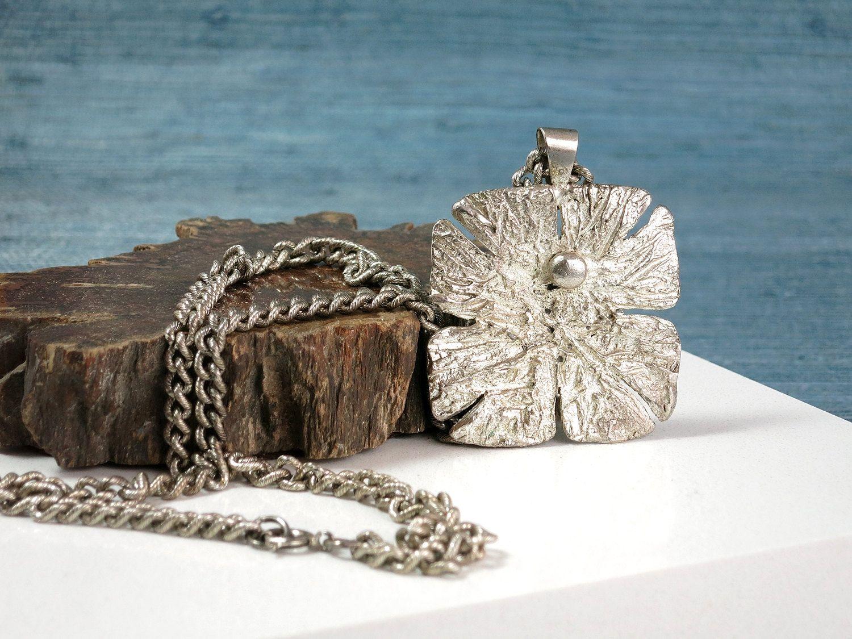 Vintage swedish modernist plated pewter pendant necklace alf
