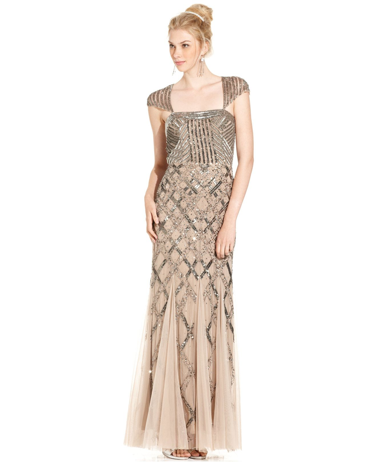 Adrianna papell capsleeve sequined gown dresses women macyus