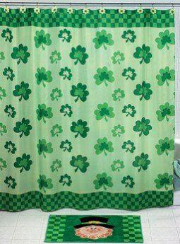Shamrock Shower Curtain St Patricks Day Saint Patrick S Paddy