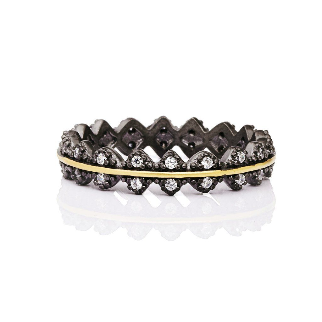 a6139043f2f95 Harlequin Pavé Thin Crown Band Ring | Cocktail and Party Rings ...