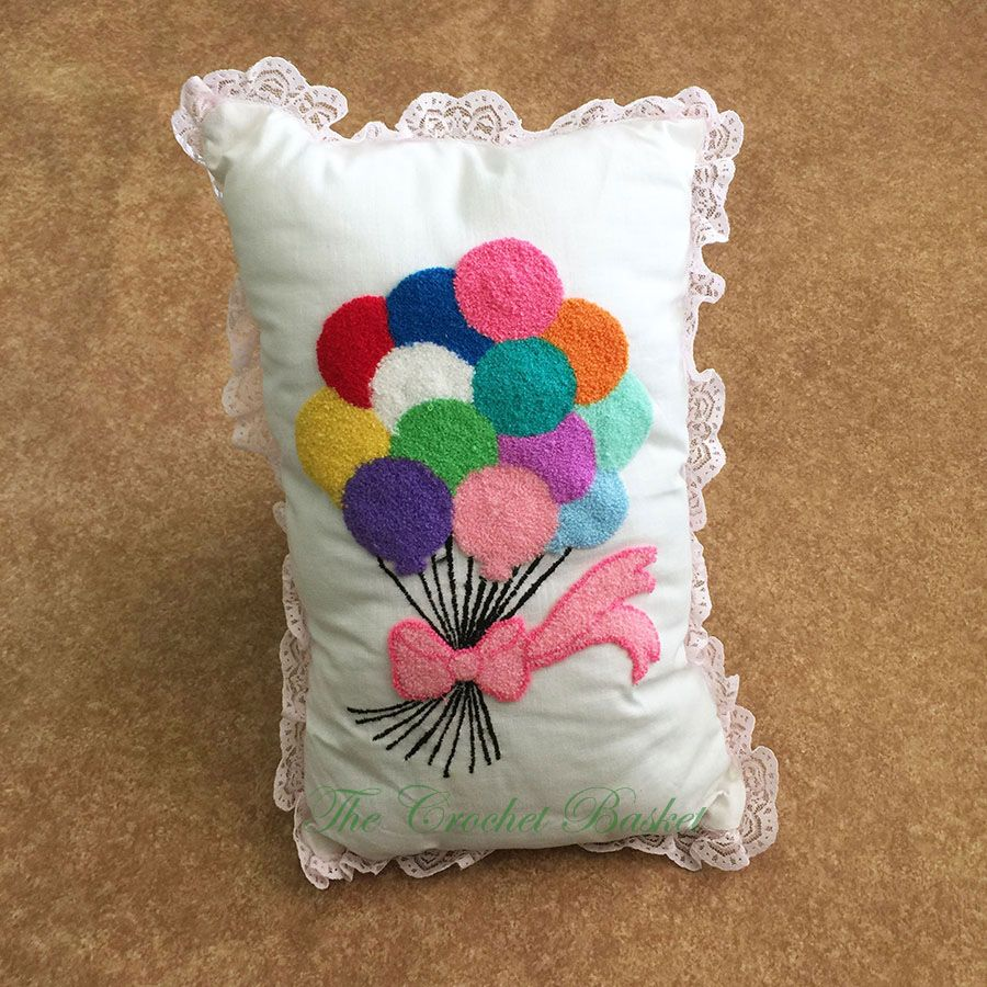 Balloons keypunch embroidery pillow the crochet basket pinterest