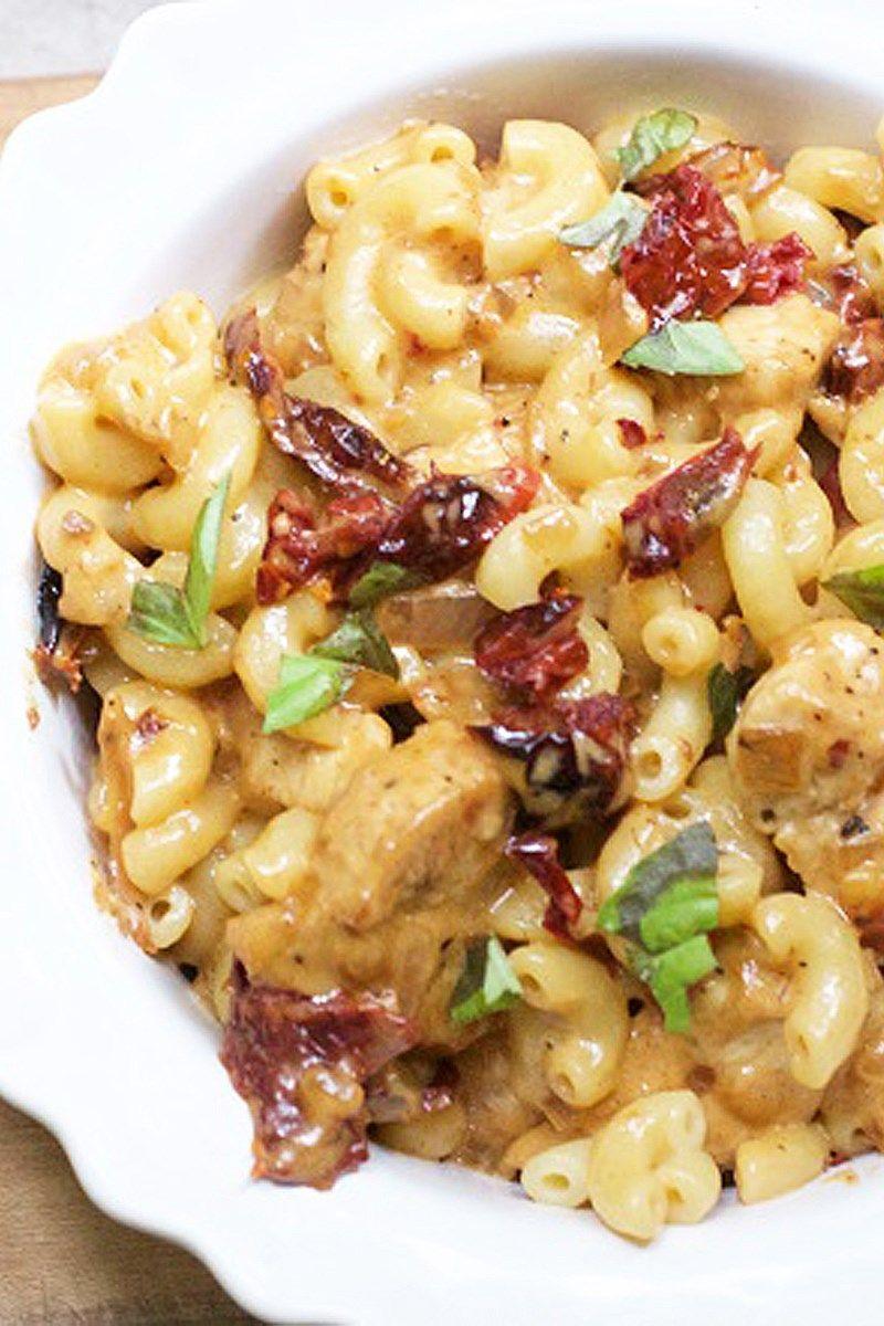 Skinny Chicken & Sun-Dried Tomato Pasta with Mozzarella Cheese Recipe - 10 Minute Prep Time
