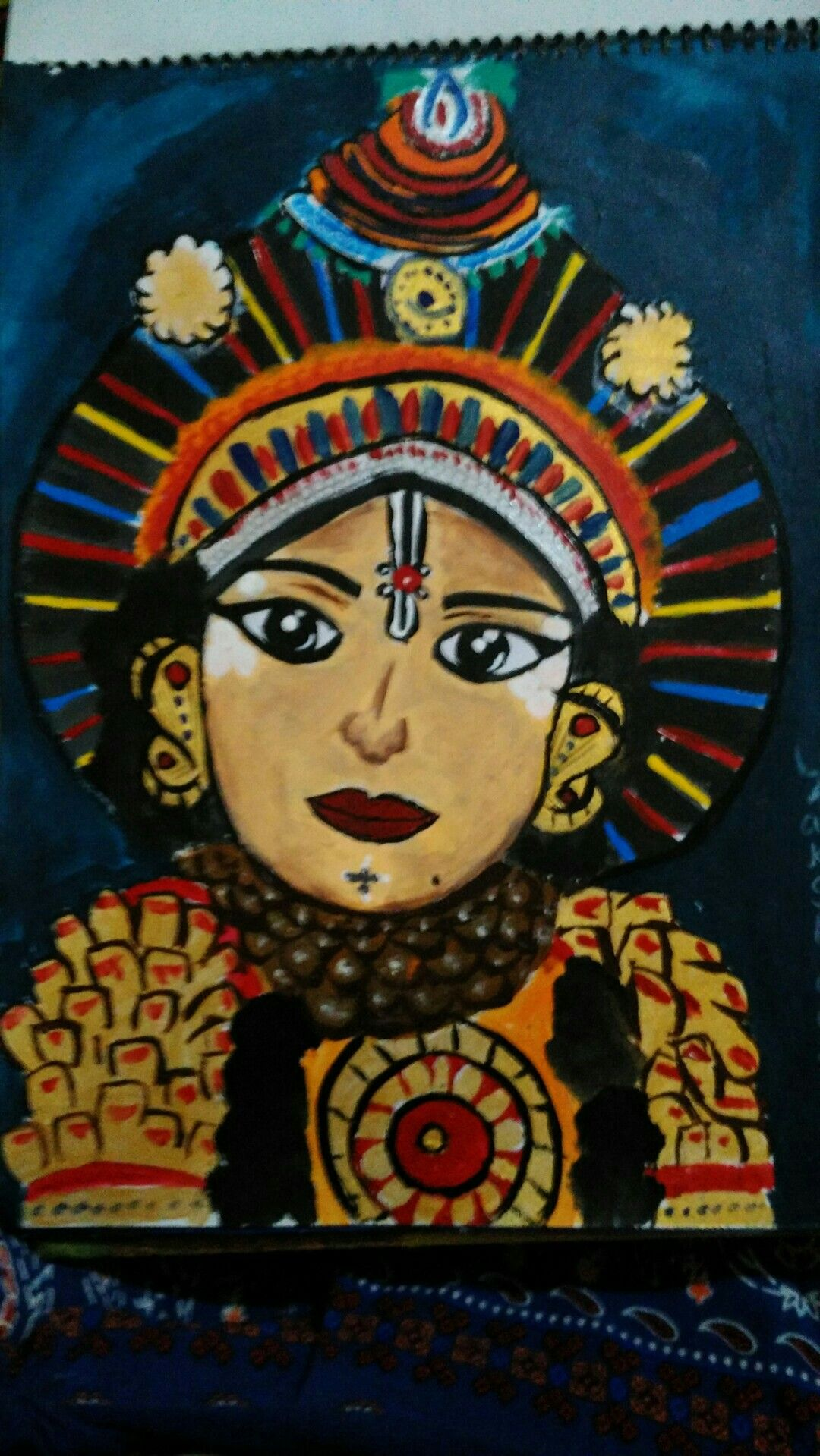 This is a yakshagana dancer portrait yakshagana is a type of dance form in karnataka india so its a must try of painting this