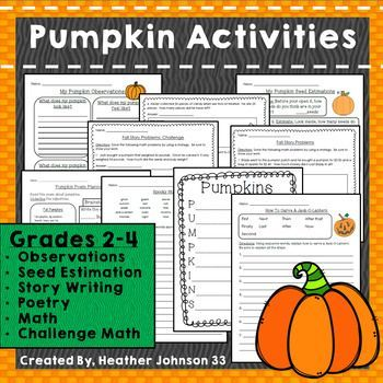 Pumpkin Activities Halloween Observations, Estimation, Writing - halloween writing ideas