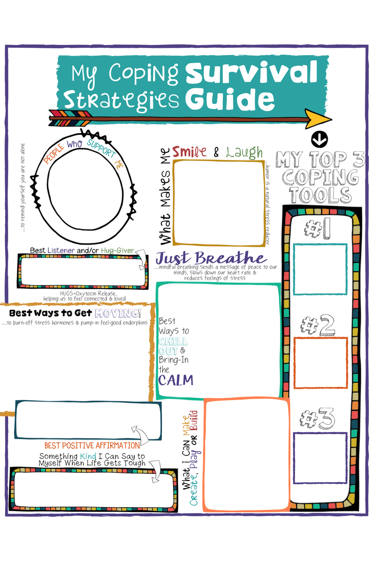 Coping Skills For Kids A Fun Coping Strategies Survival Guide Worksheet Kids Coping Skills Coping Skills Activities School Counseling Lessons
