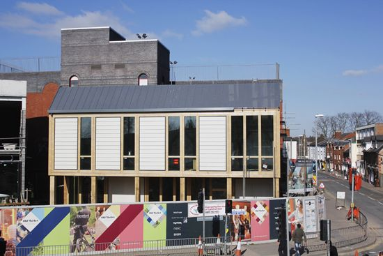 Across the street to the oak framed pavilion at the Old Market new development in Hereford.