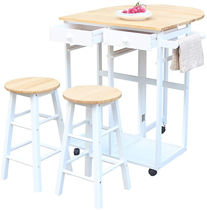 FCH Folding Dining Table and Chair Set, Solid Wood Drop Leaf Breakfast Cart Table Set Kitchen Trolley Island Cart with 2 Round Stools and 2 Drawers for 2