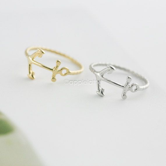anchor ring in gold / silver size 5  9 by applelatte on Etsy, $9.80
