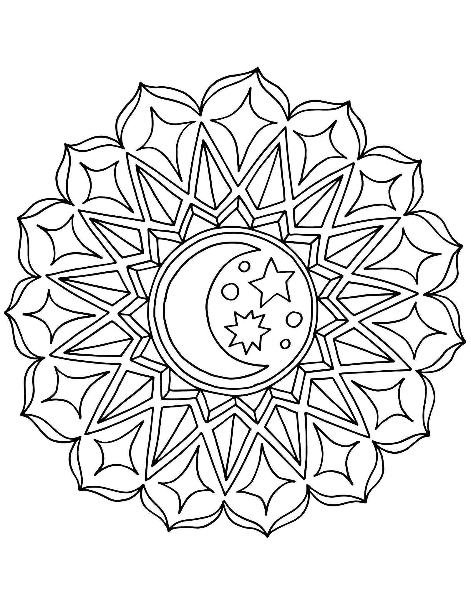 Moon And Stars Coloring Pages Art Mandala Malvorlagen Mandala Ausmalen Bilder Zum Ausmalen