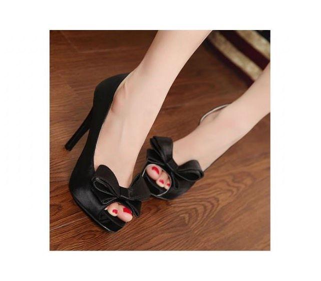 Elegant Open Toe Bow Vamp Party Platform High Heels Stiletto Pumps 2 Colors