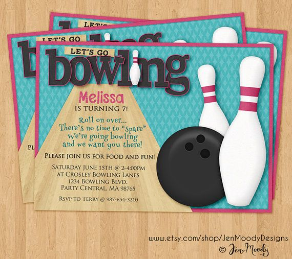 Girl Bowling Birthday Party Invite Invitation by JenMoodyDesigns - bowling invitation