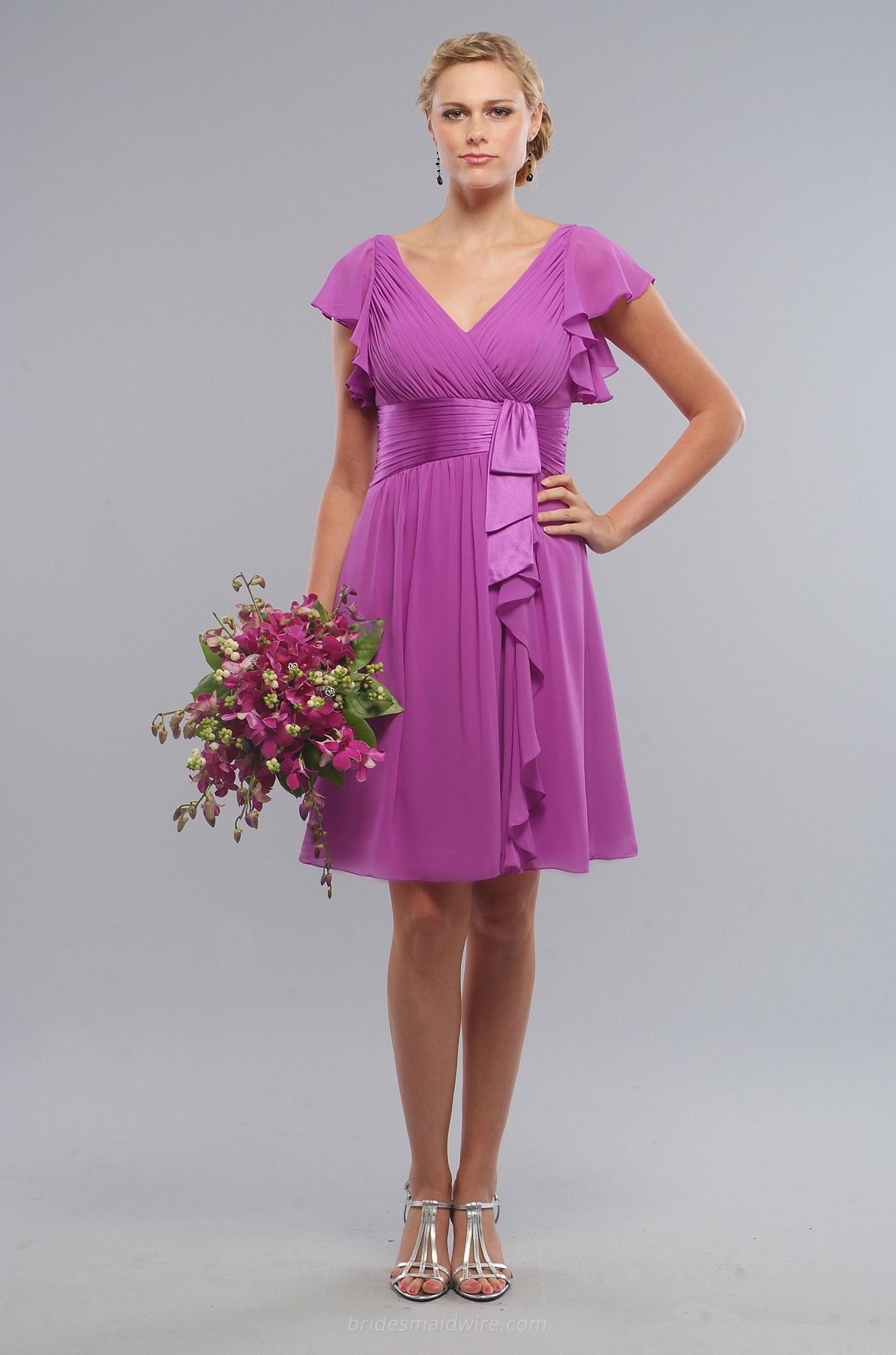 Short Amethyst #Chiffon V-neck Cascade #Bridesmaids Occasion #Dress ...