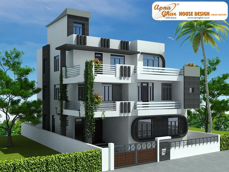 7 Bedroom Modern Triplex 3 Floor House Design Area 240 Sq Mts 12m X 20m Click On This L House Front Design Modern Small House Design Small House Design