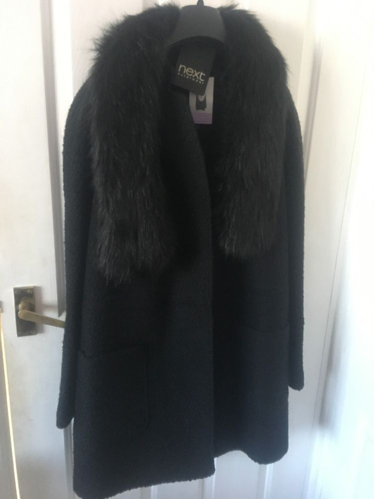 1c1329daa19 Next Black Wool Coat Knee Length Detachable Faux Fur Collar Size 18 Plus  BNWT  fashion  clothing  shoes  accessories  womensclothing   coatsjacketsvests ...