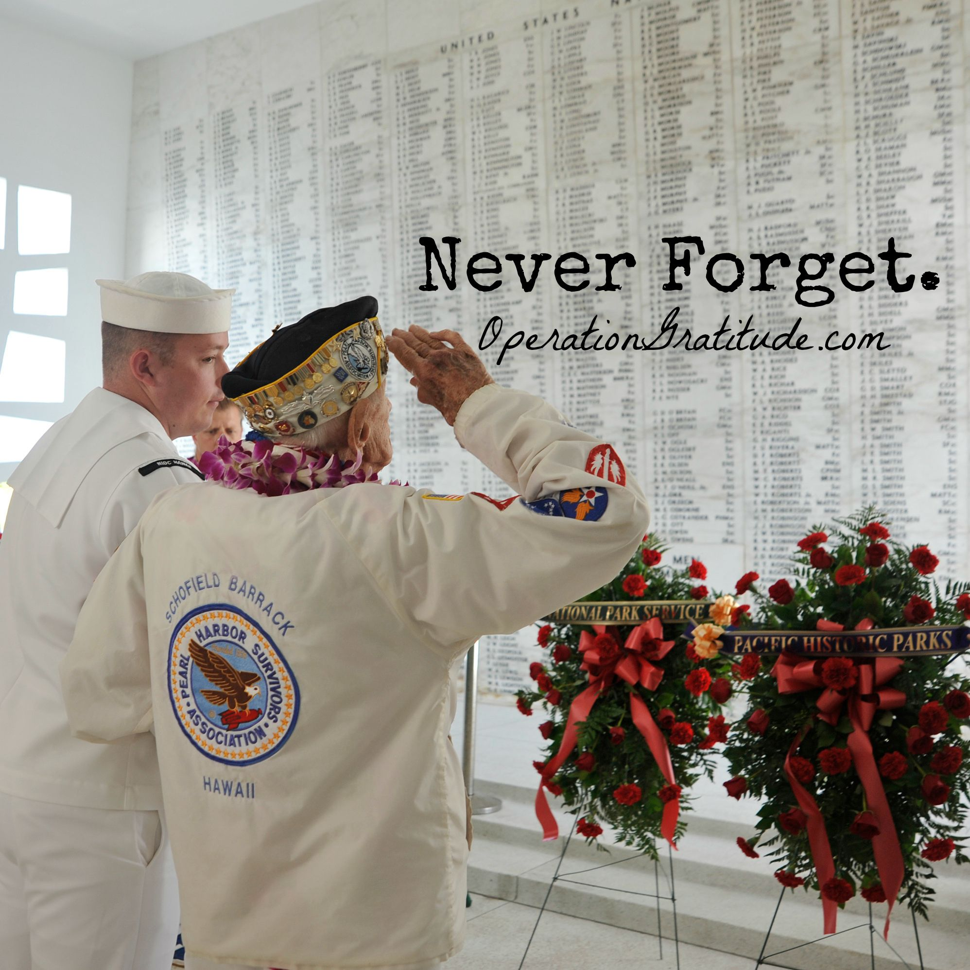 Pearl Harbor survivor Allen Bodenlos renders honors at the USS Arizona Memorial during the 72nd anniversary Pearl Harbor Day commemoration. Pearl Harbor survivors and distinguished guests visited the memorial for the presentation of wreaths. More than 2,500 guests, including Pearl Harbor survivors and other veterans, attended the National Park Service and U.S. Navy-hosted joint memorial ceremony at the World War II Valor in the Pacific National Monument. (U.S. Navy photo by MCS Johans…