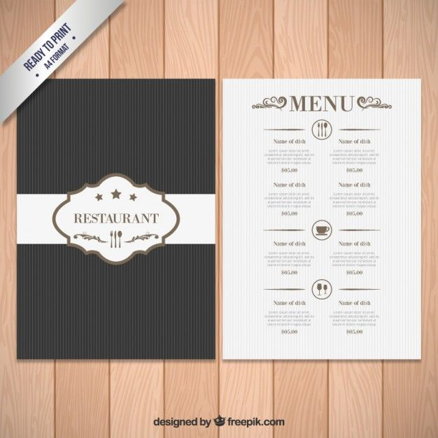 Elegant Menu Template Free Vector  Menu Design Inspirations