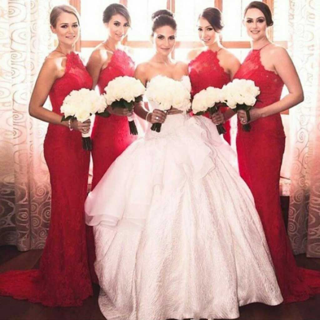Charming popular red halter sexy mermaid lace long wedding guest