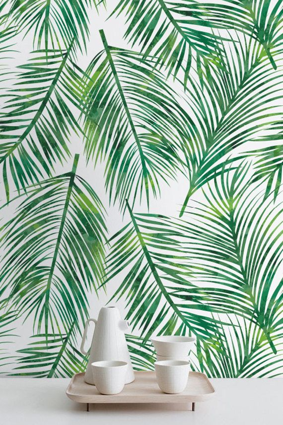 Palm Leaves Self-adhesive Wallpaper, Tropical Wallpaper, Exotic Leaves pattern, Palm ...