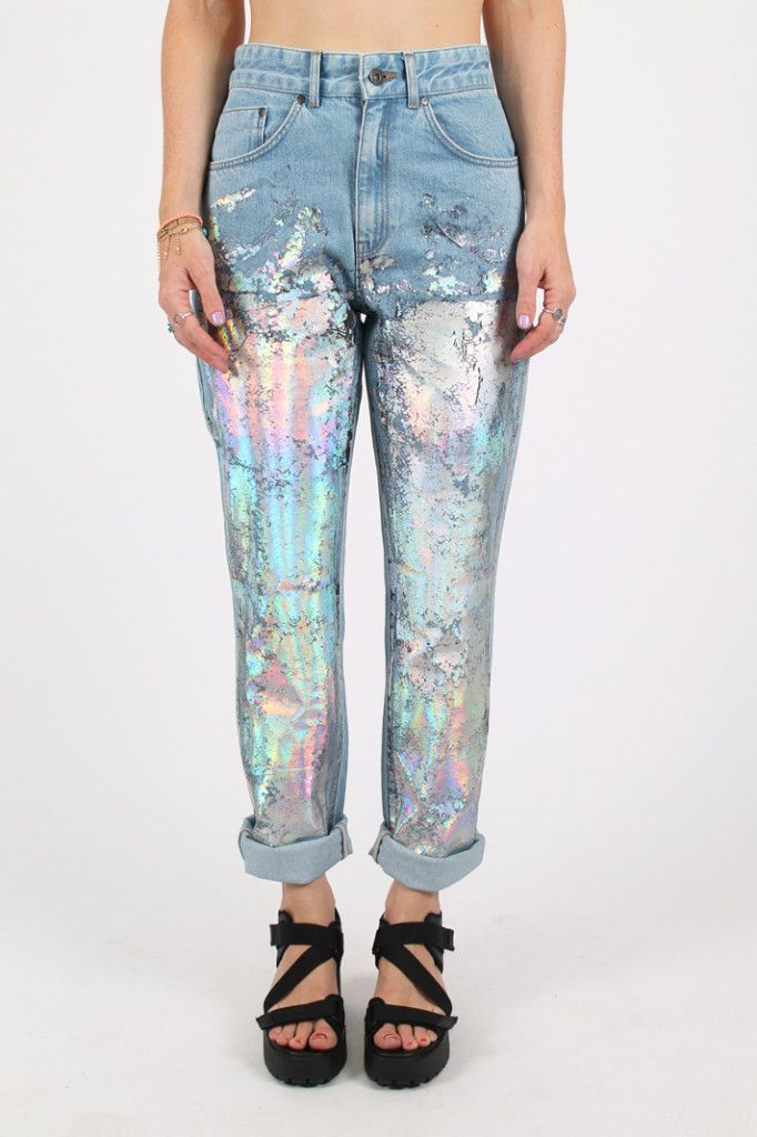 pastel covered jeans  want in 2019  holographic fashion