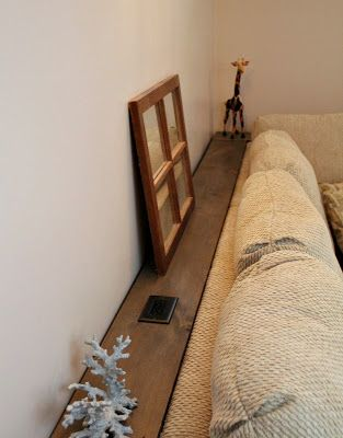Build A Behind The Couch Shelf With An Electrical Outlet