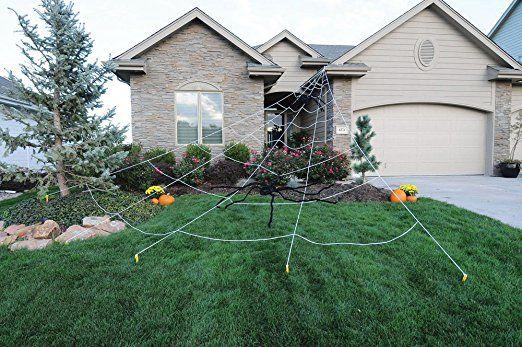 Gracelove 23\u0027 Mega LARGE Yard Rope Spider Web Spiderweb Scary - halloween decorations spider