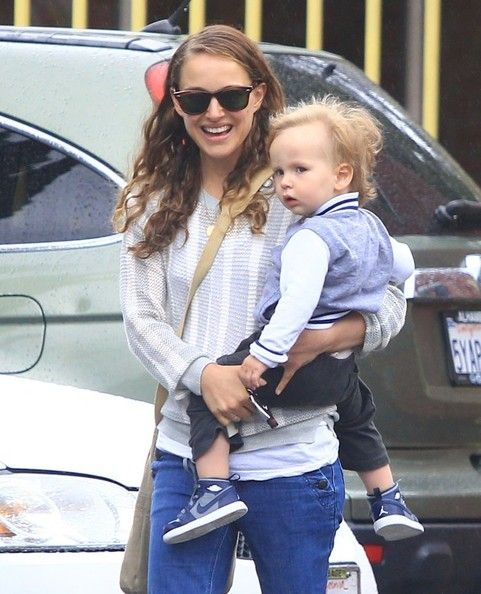 Natalie Portman's little man is getting so big! The actress and her son Aleph were snapped visiting a Jewish community center in Los Feliz, California on Monday.