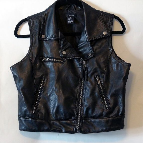 Vintage Black Faux Leather Cropped by NativeLilacVintage on Etsy, $45.00