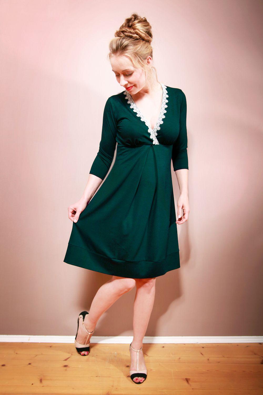 Empirekleid GEMMA mit Spitze tannengrün  Etsy  Sewing dresses