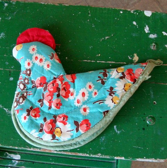 vintage chicken rooster potholder