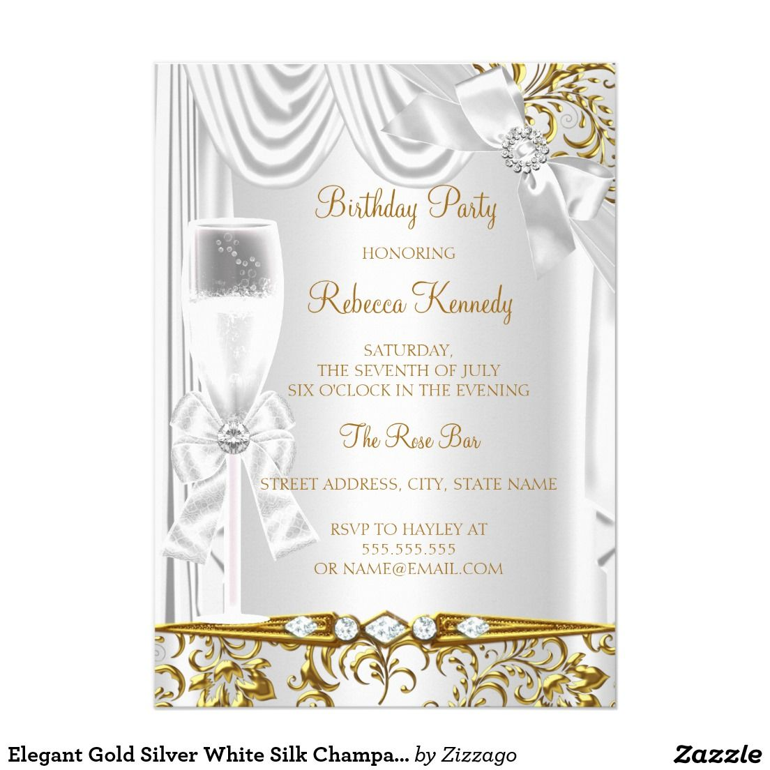 Elegant gold silver white silk champagne birthday 5x7 paper elegant gold silver white silk champagne birthday 5x7 paper invitation card stopboris Image collections