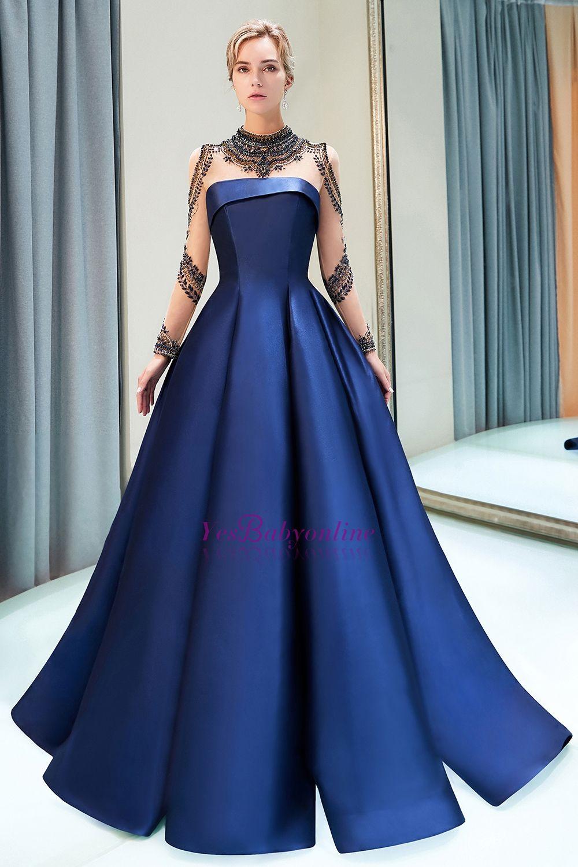 54fb1ffa942e9 A-Line Tulle Satin High Neckline Beaded Long Sleeve Prom Dress ...