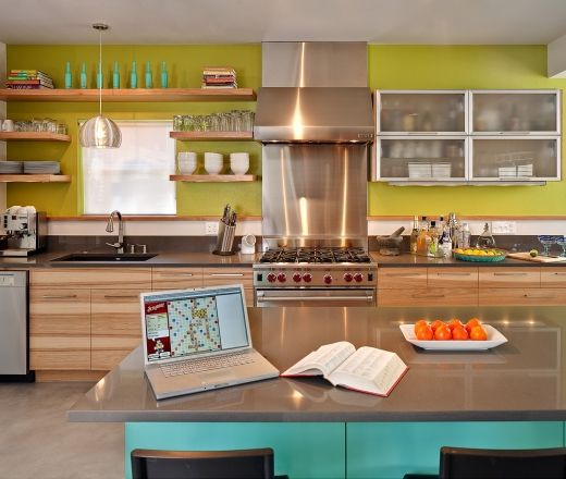 Contemporary Island Style Green Kitchen, Maple/beach