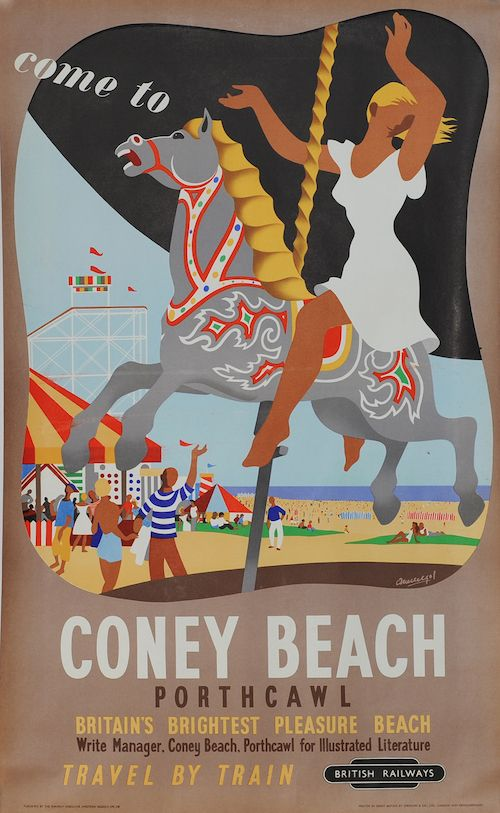 """WELSH TRAVEL A3 POSTER RE-PRINT 1960/'S /""""COME TO CONEY BEACH/"""" PORTHCAWL WALES"""