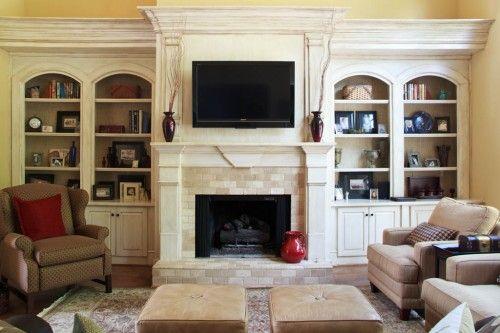 Fireplace Flanked By Bookshelves | Living Room | Pinterest