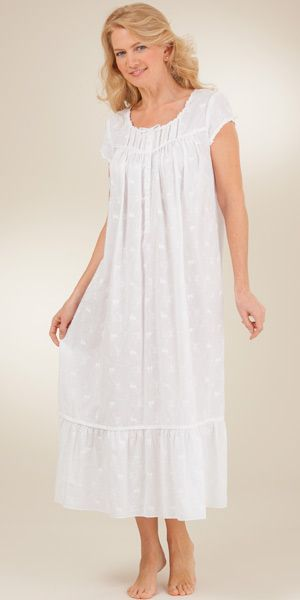 White Cotton Gowns - Eileen West Cap Sleeve Ballet Allover Embroidered in  Bayview f4c271350