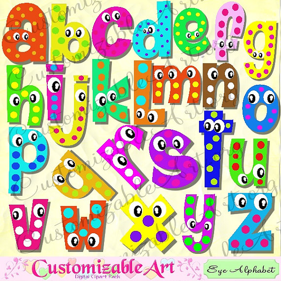 digital fun alphabets clipart cute digital letters of the alphabet clip art wiggle googly eyes cartoon colorful 3d shadow color printable