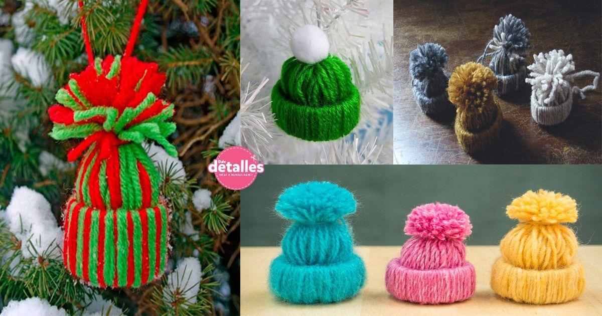 como hacer gorritos de lana para el arbol de navidad Lindos Gorros 8e319cbb5af