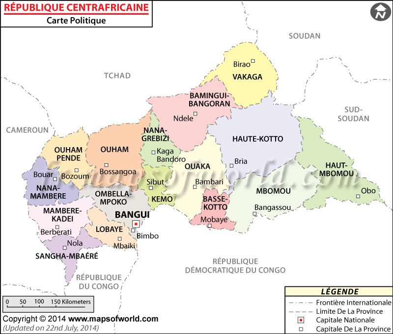 Carte du Rpublique centrafricaine Map of Central African