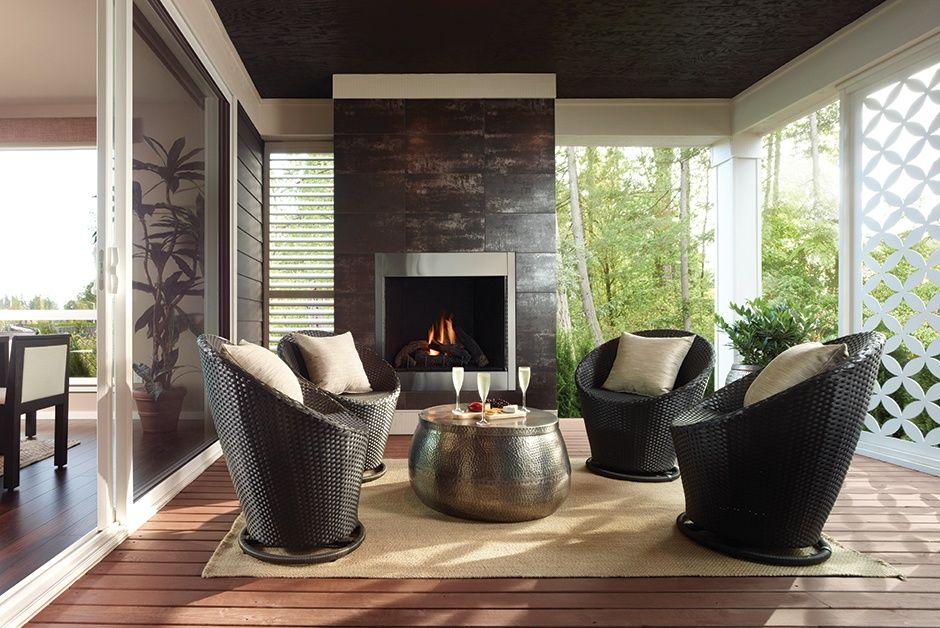 contemporary porch with valentine 3-piece patio swivel bistro set