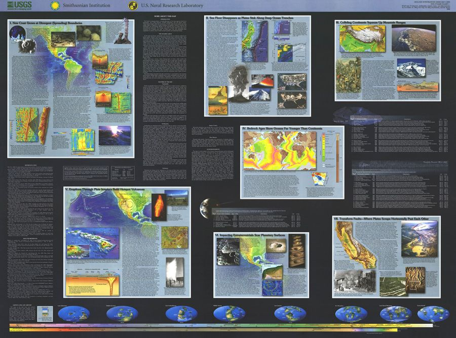 Image of product this dynamic planet world map of volcanoes this dynamic planet world map of volcanoes earthquakes impactcraters and plate tectonics gumiabroncs Images