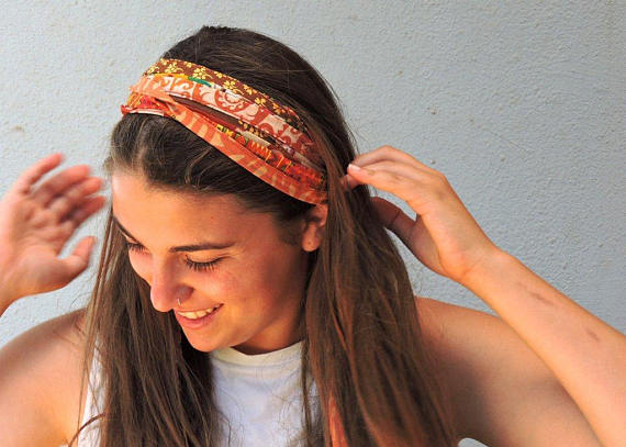 Fabric Headband Orange Headband Wide Headband Hippie