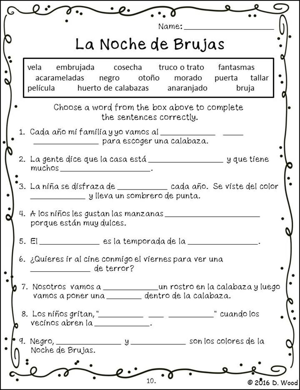 Workbooks teach english to spanish speakers worksheets : Halloween Spanish (La Noche de Brujas) Bilingual Reading | English ...