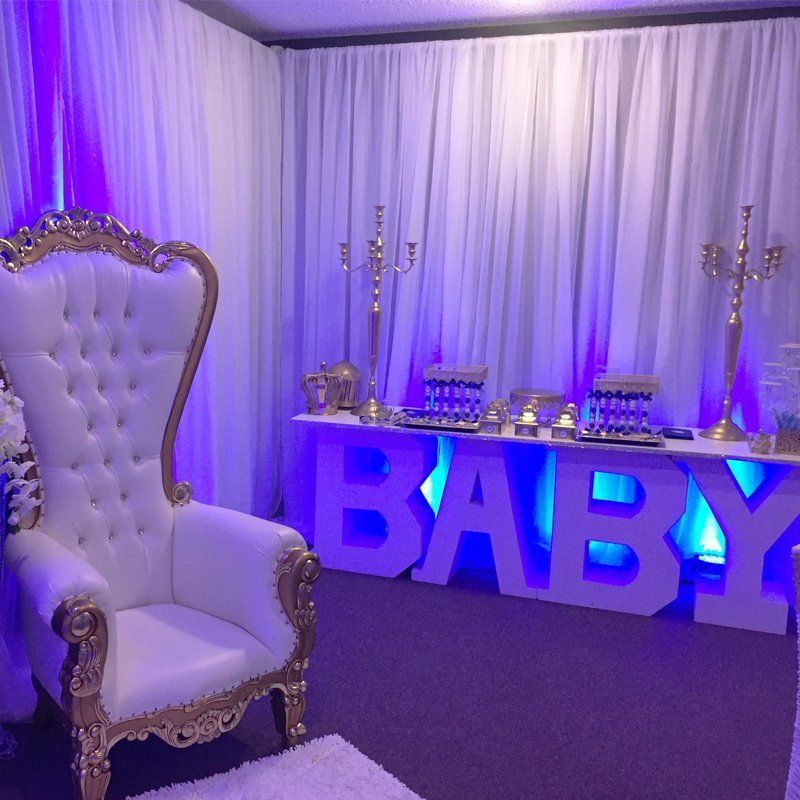Baby Shower Table Rental Letter Avas Party Designs Balloons