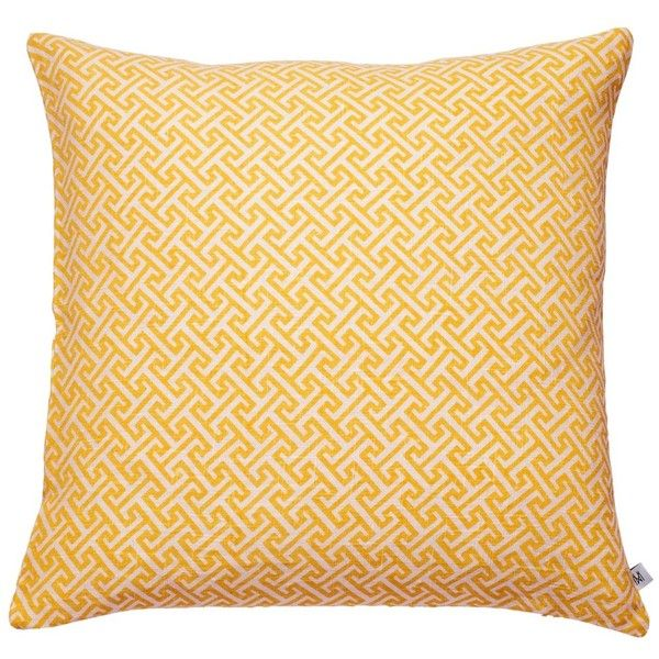 Nina Kullberg - Athens Yolk Yellow Cushion (6,200 INR) ❤ liked on Polyvore featuring home, home decor, throw pillows, yellow home accessories, yellow accent pillows, feather pillow inserts, patterned throw pillows and yellow throw pillows